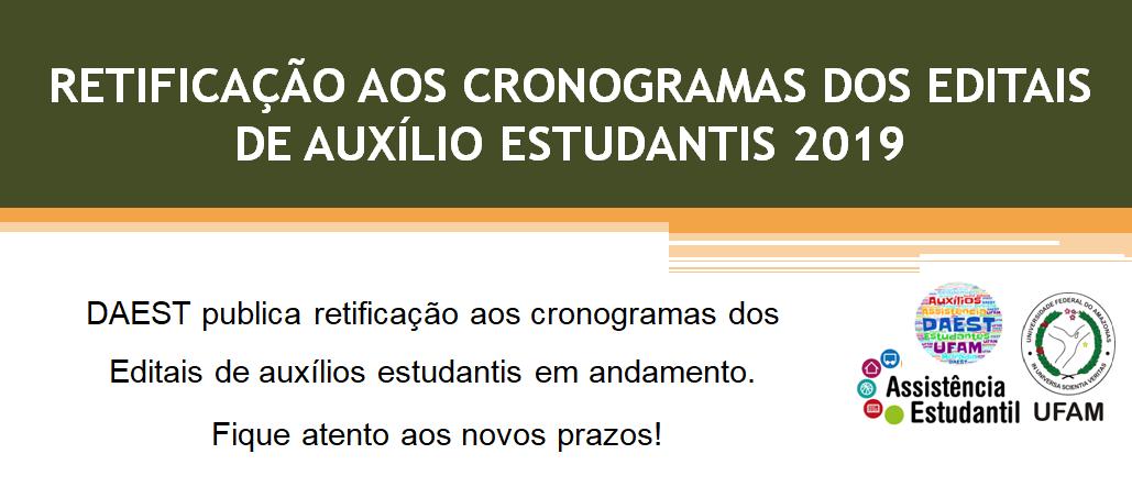 DAEST PUBLICA RETIFICAÇÃO DOS EDITAIS EM ANDAMENTO REFERENTES AOS AUXÍLIOS ESTUDANTIS